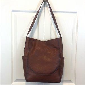 Frye side pocket cognac leather hobo bag